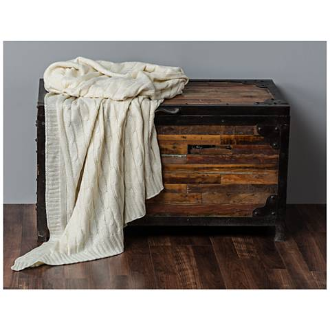 Becca Cream Classic Cable Knit Throw with Foil Print