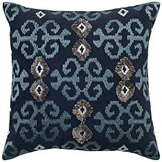 "Mia Blue and Silver Ikat with Flourishes 18"" Square Pillow"