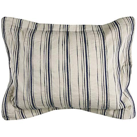 Vincent III Blue and Natural Linen King Pillow Sham