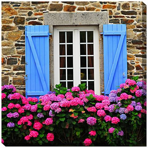 """Country Hydrangeas 24"""" Square Indoor-Outdoor Wall Art"""
