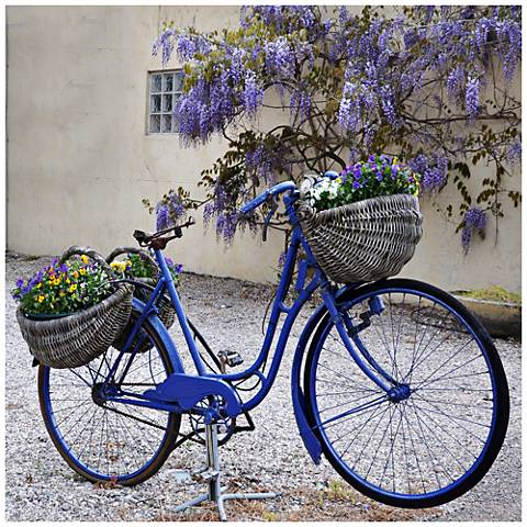"Blue Bike 24"" Square All-Weather Indoor-Outdoor Wall Art"