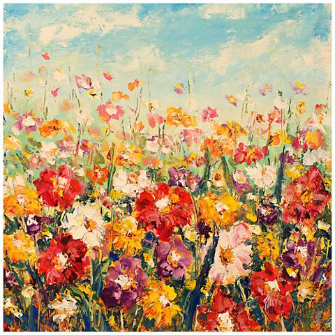 "Floral Palette 24"" Square Indoor-Outdoor Giclee Wall Art"