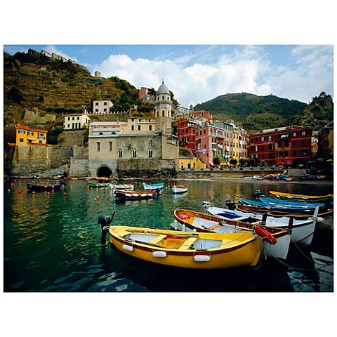 "Boat In Vernazza 40""W All-Weather Indoor-Outdoor Wall Art"