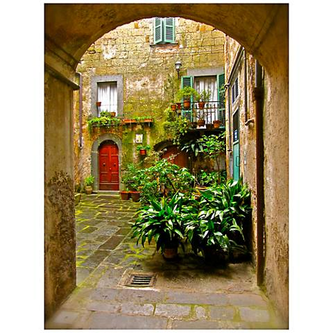 "Italian Courtyard 40"" High Indoor-Outdoor Giclee Wall Art"