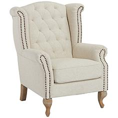Williamsburg Natural Linen Tufted Wingback Armchair