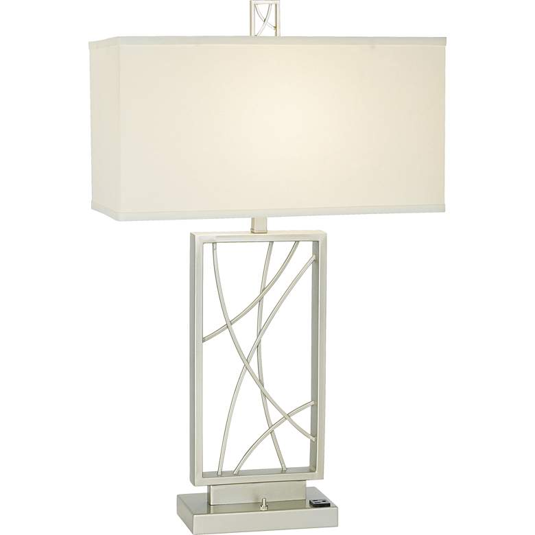 10N17 - Candlewood Silver Metal Table Lamp with Outlets