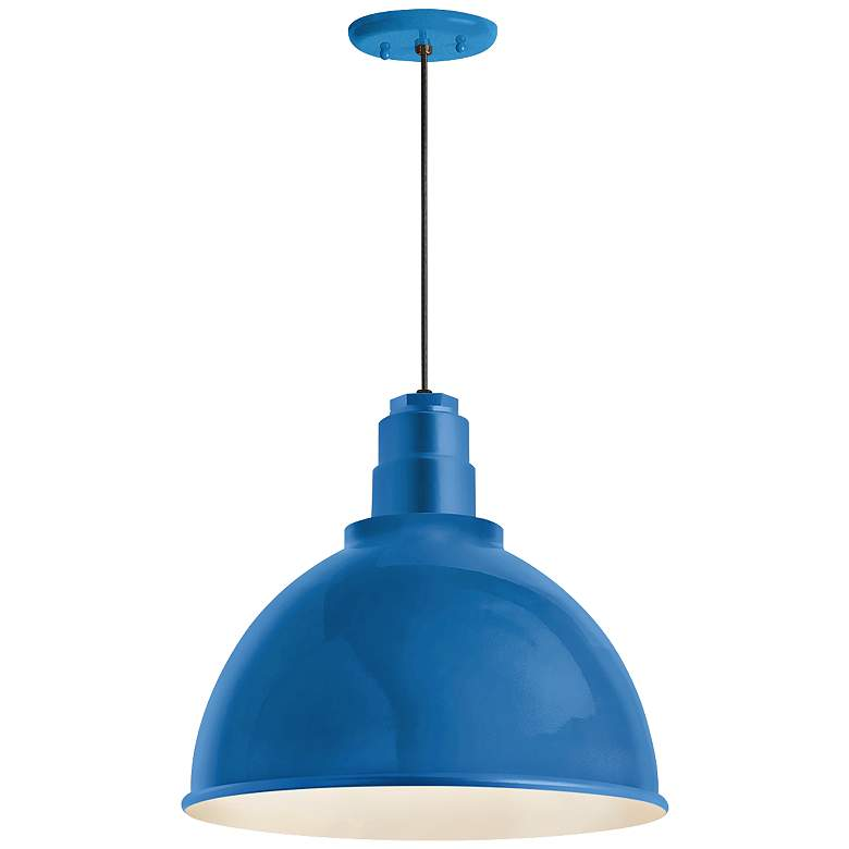 "RLM Deep Reflector 12""W Blue Outdoor Hanging Light"