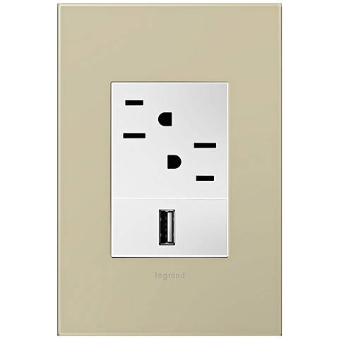 adorne Ashen Tan 1-Gang+ Wall Plate w/ Outlets