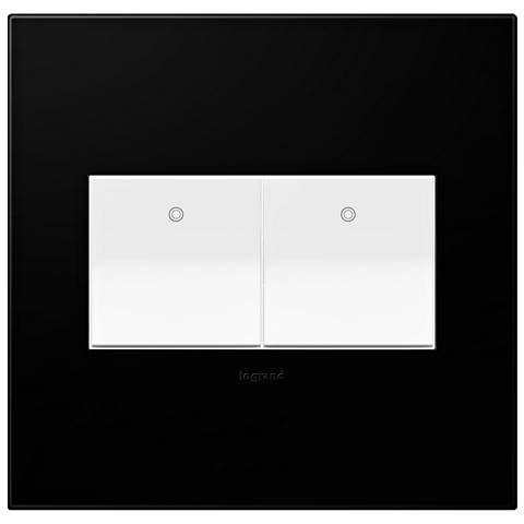 Black Ink 2-Gang Wall Plate with 2 x Paddle Switches
