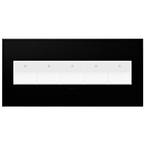 Black Ink 5-Gang Wall Plate with 5 x Paddle Switches