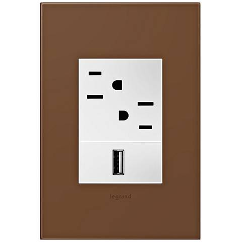 adorne Cappuccino 1-Gang+ Wall Plate w/ Outlets
