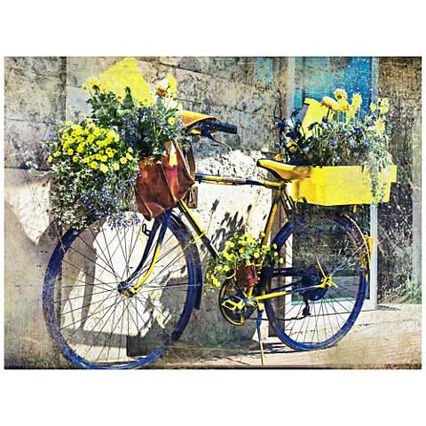 "Blue & Yellow Bike 40""W Indoor-Outdoor Giclee Wall Art"