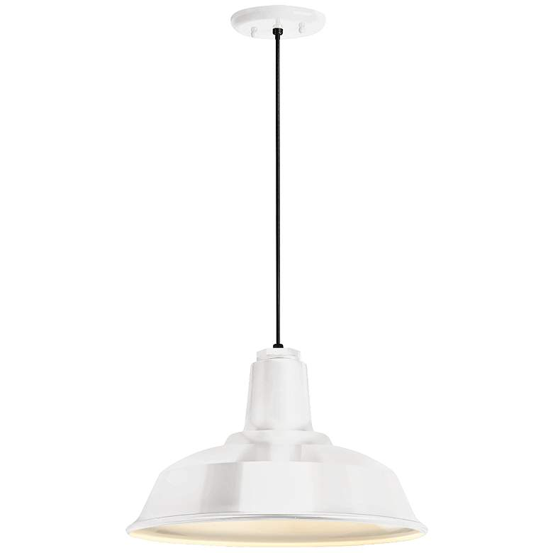 """Heavy Duty 14"""" Wide Gloss White Outdoor Hanging Light"""