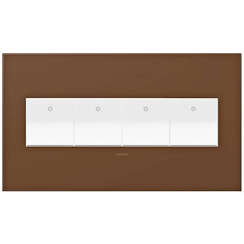 adorne Cappuccino 4-Gang Wall Plate w/ 4 Switches