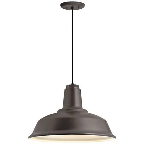 """Heavy Duty 16""""W Textured Bronze Outdoor Hanging Light"""