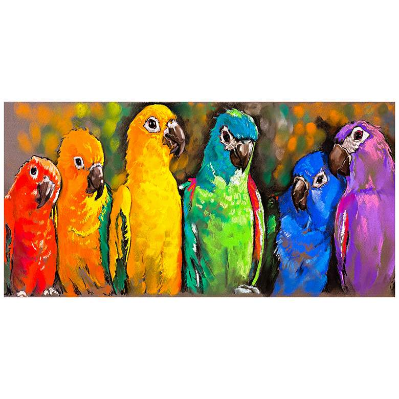 "Pretty Parrots 48""W All-Weather Indoor-Outdoor Wall Art"