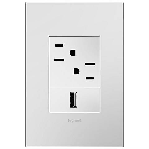 adorne Powder White 1-Gang+ Wall Plate with Outlets