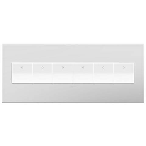 Powder White 6-Gang Wall Plate with 6 x Paddle Switches