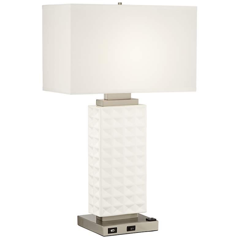 10P92 - Satin Silver Waffle Design Table Lamp