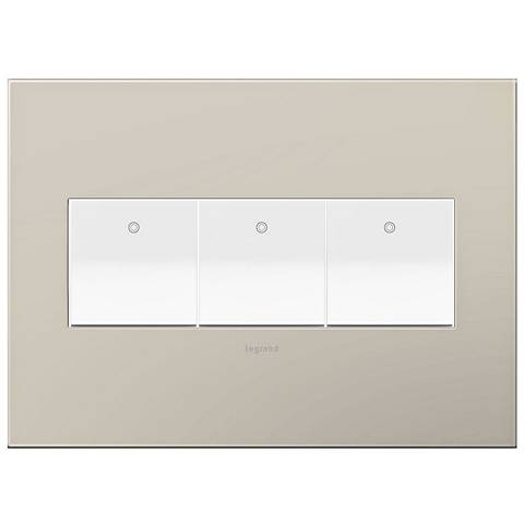 adorne Greige 3-Gang Wall Plate w/ 3 Switches