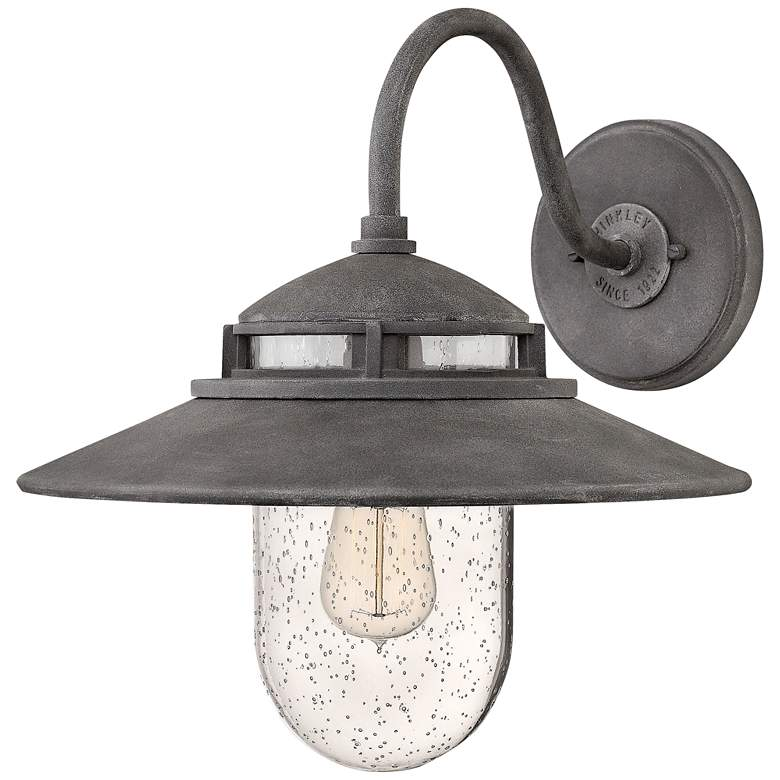 """Hinkley Atwell 15 1/4"""" High Aged Zinc Outdoor Wall Light"""