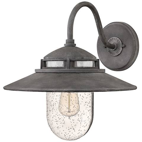 "Hinkley Atwell 15 1/4"" High Aged Zinc Outdoor Wall Light"