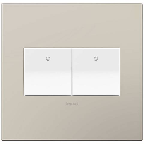 adorne Greige 2-Gang Wall Plate w/ 2 Switches
