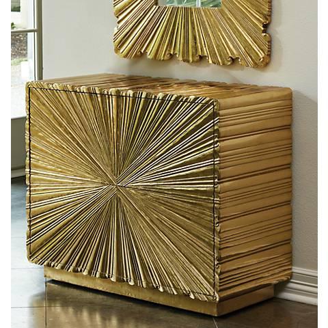 Global Views Linen Fold Brass 2-Drawer Chest