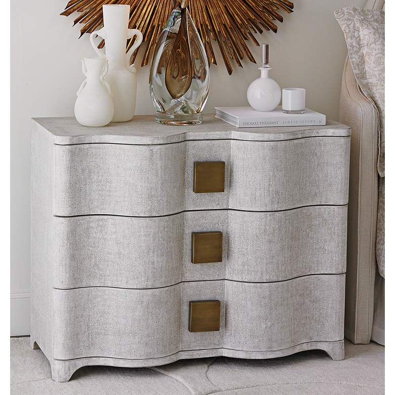 "Toile 40"" Wide Belgian Linen Chest of Drawers"