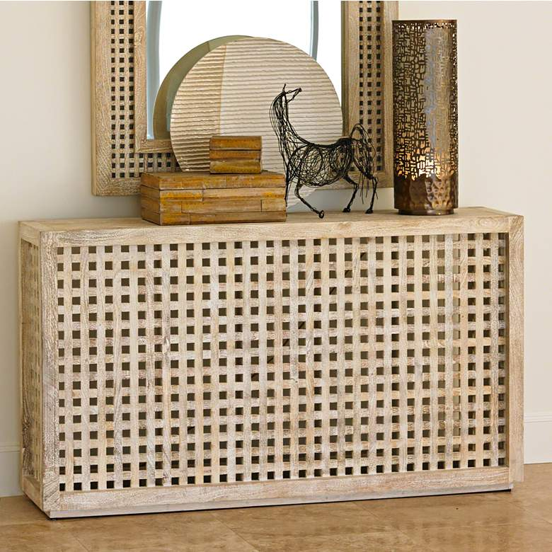 "Global Views 60"" Wide Oceanside Driftwood Lattice Console"