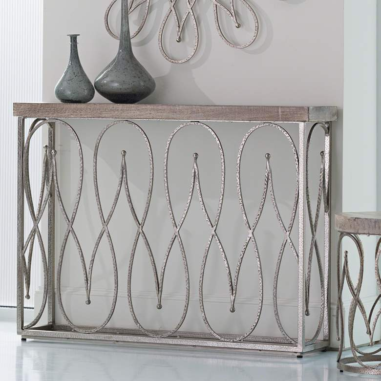 "Moroccan 46"" Wide White-Washed Wood and Nickel Console Table"