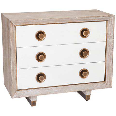 Global Views Geneva Crackled Linen White Oak 3-Drawer Chest