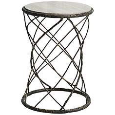 Marble Tables Lamps Plus - White marble and metal round accent table