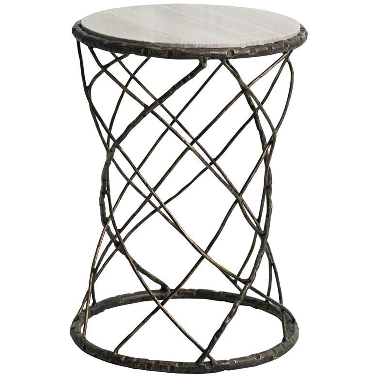 """Tango 16"""" Wide White Granite and Bronze Accent Table"""