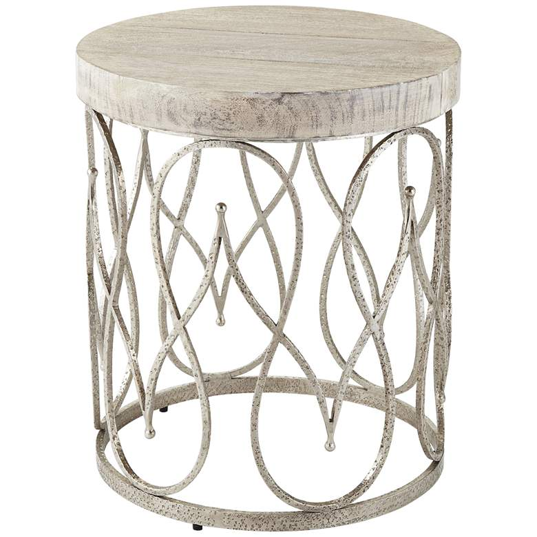 """Moroccan 17 1/4"""" Wide White-Washed Wood Top Side Table"""