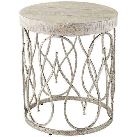 Global Views Moroccan WhiteWashed Top Nickel Side Table R - Moroccan outdoor coffee table