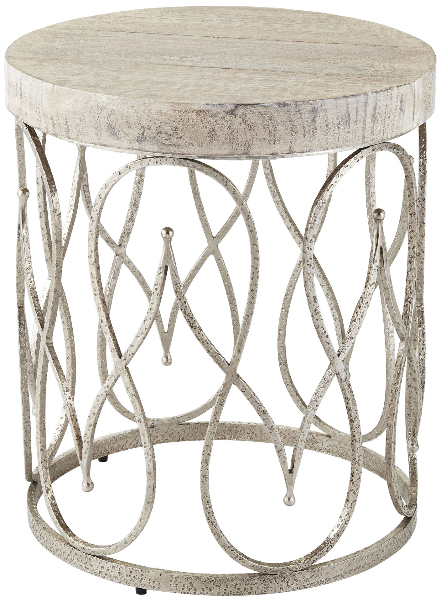 Global Views Moroccan White Washed Top Nickel Side Table