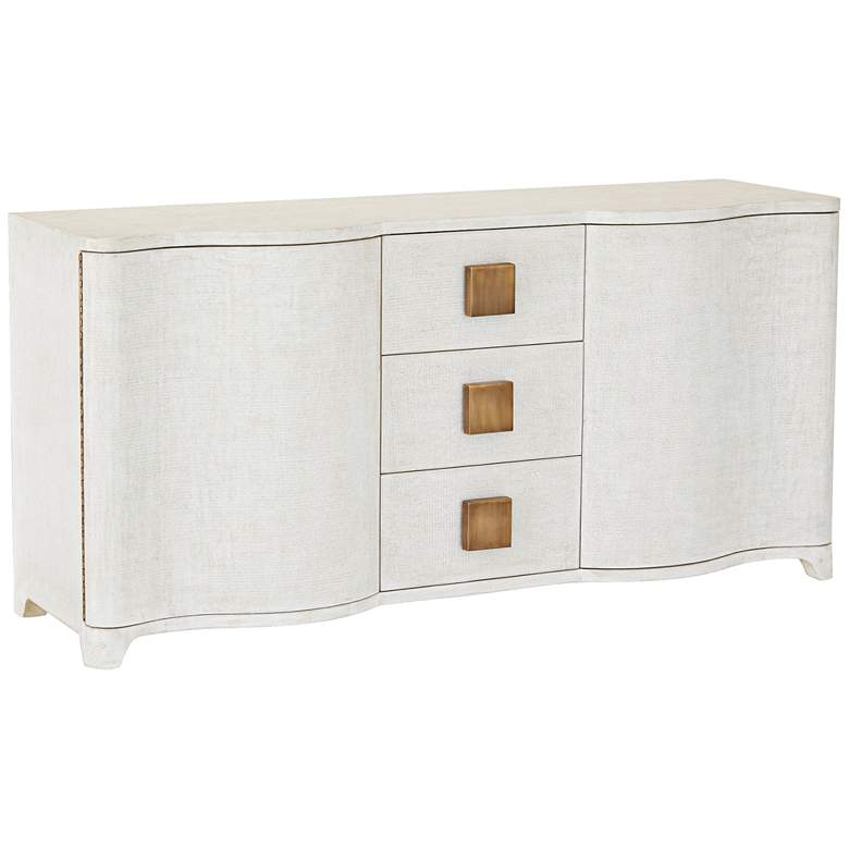 "Toile 66"" Wide Belgian Linen 3-Drawer Credenza"