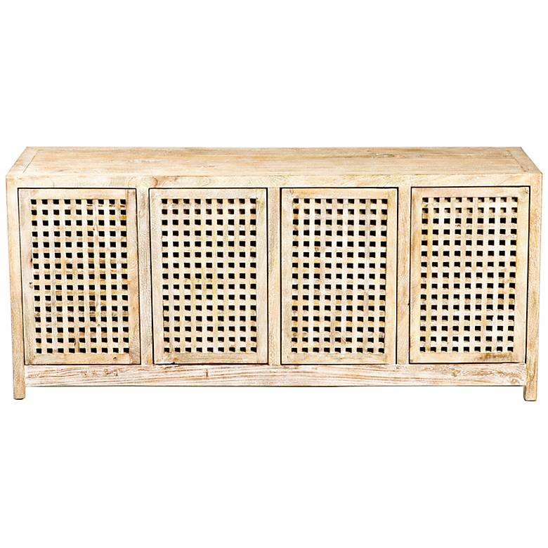 "Larkin 71"" Wide Driftwood Lattice 4-Door Credenza"