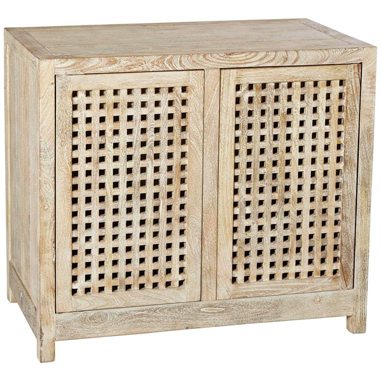 "Global Views Larkin 36""W White-Washed Lattice 2-Door Cabinet"