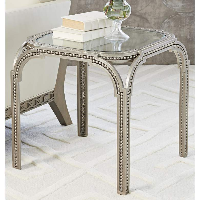 """Forged Pearl 21"""" Wide Glass and Nickel Finish Side Table"""