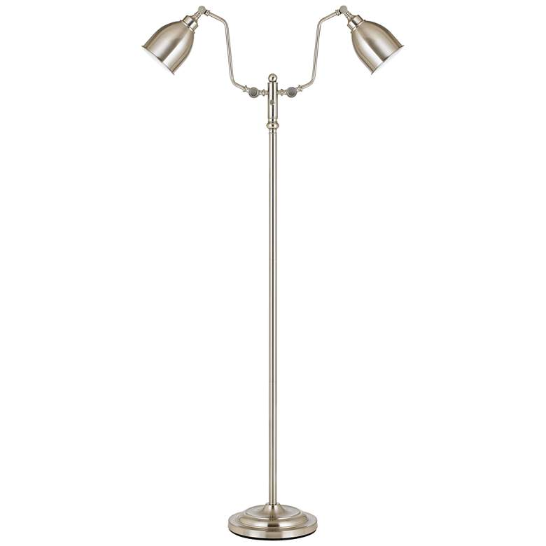 Wolfert Brushed Steel Dual Round Head Pharmacy Floor Lamp 10t52 Lamps Plus