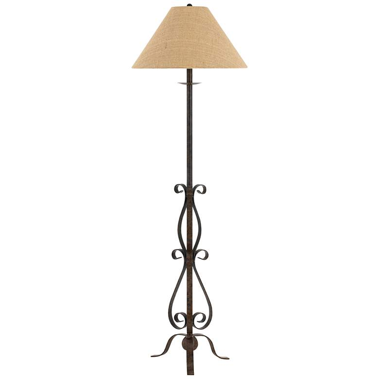 Ekalaka Natural Wrought Iron Scroll Floor Lamp