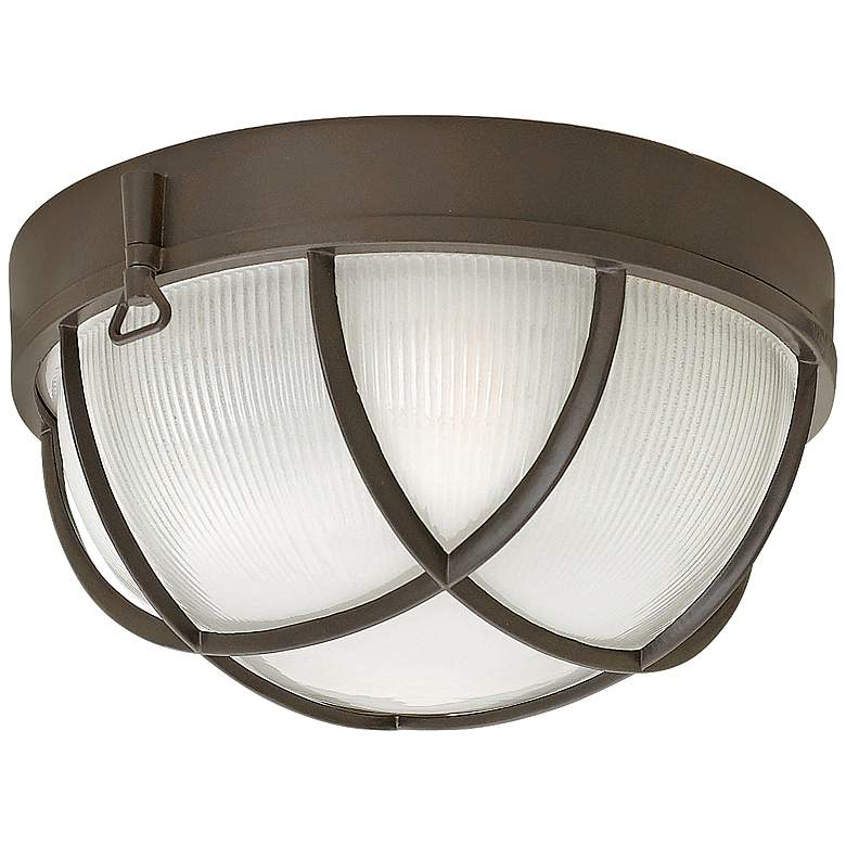 "Marina 10 1/4""W Bronze Etched Glass Outdoor Ceiling"
