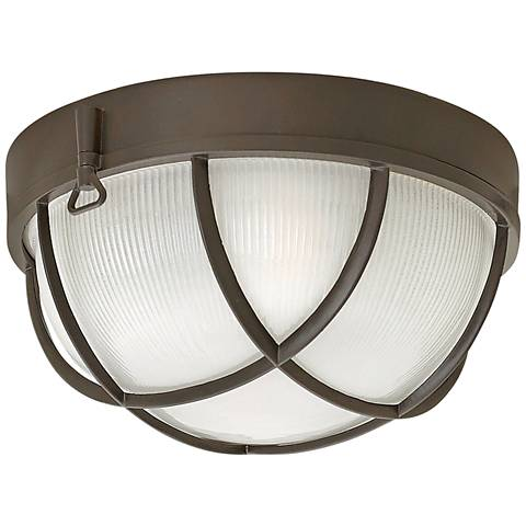 "Marina 10 1/4""W Bronze Etched Glass Outdoor Ceiling Light"