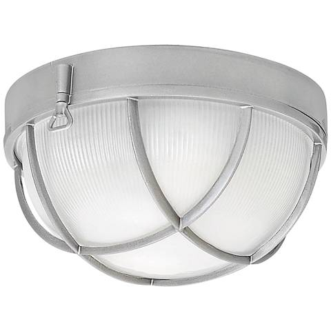 "Marina 10 1/4""W Hematite Etched Glass Outdoor Ceiling Light"