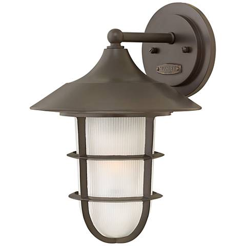 "Marina 14 1/2"" High Bronze Etched Glass Outdoor Wall Light"