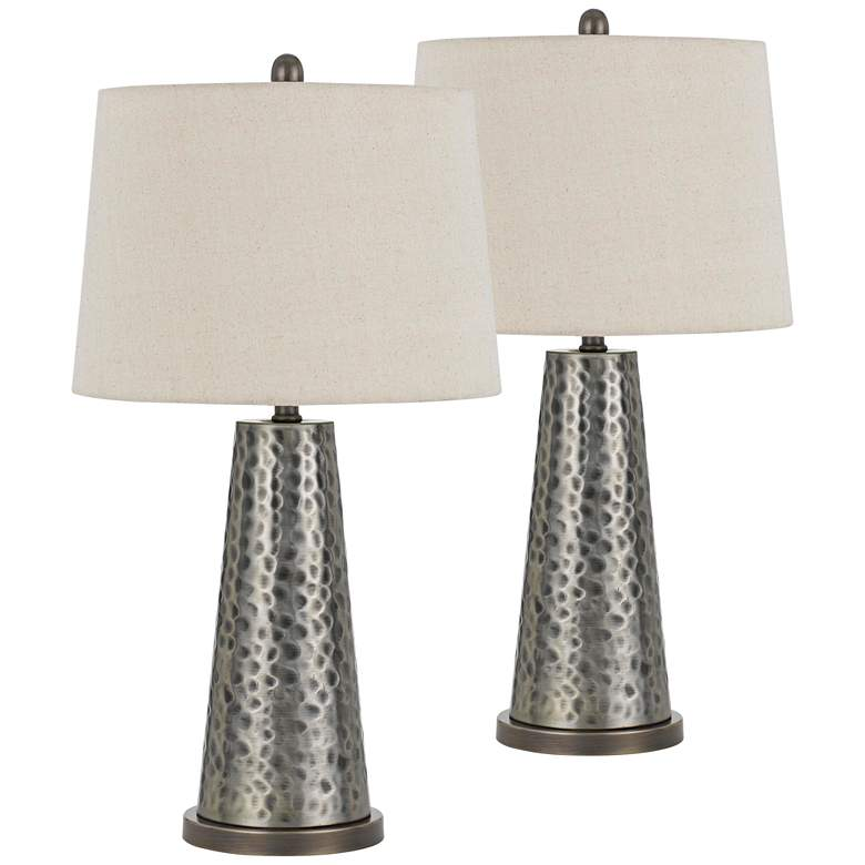 Bradford Silver Faux Hammered Metal Table Lamp Set of 2