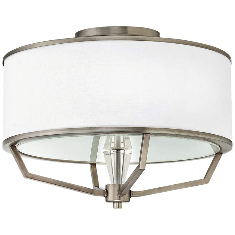 """Hinkley Larchmere 18"""" Wide English Nickel Ceiling Light"""