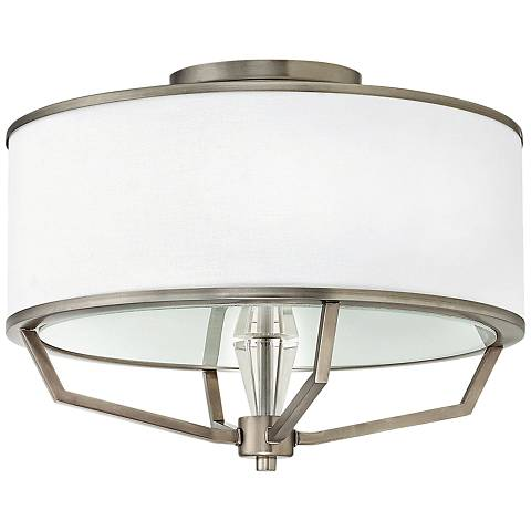 "Hinkley Larchmere 18"" Wide English Nickel Ceiling Light"